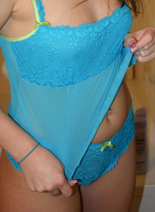 Teenager In A Tiny Blue Lace Outfit In The Bathroom - Picture 11